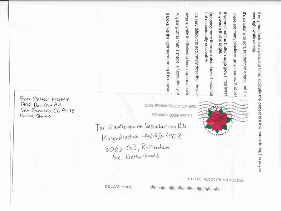 A letter to the visitor of Rib, one of a bi-weekly letters by Mathew Kneebone sent to 'Afspraak'.