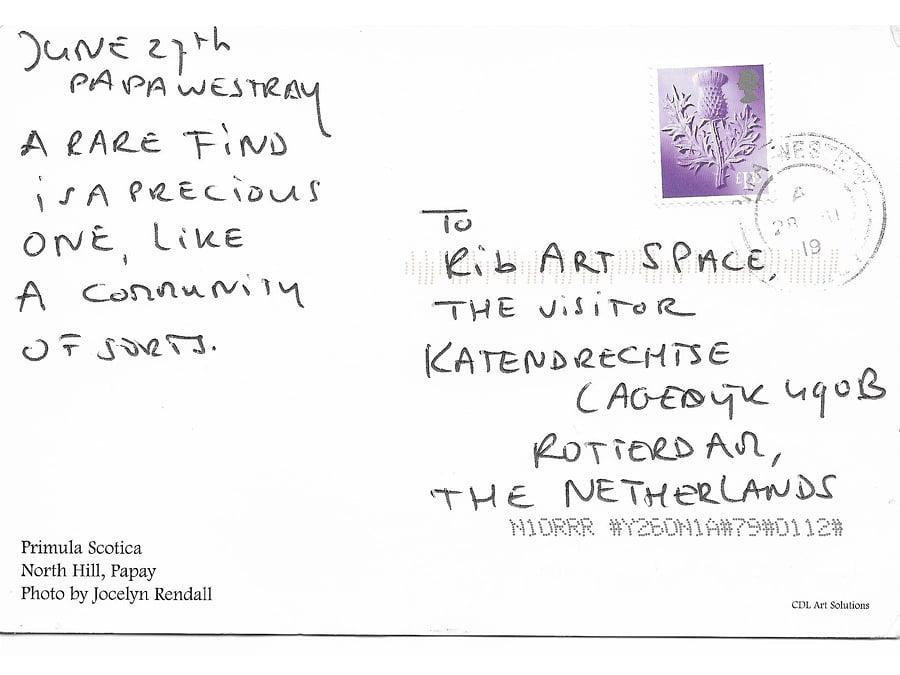A letter to the visitor of Rib, back of a Postcard by anonymous.