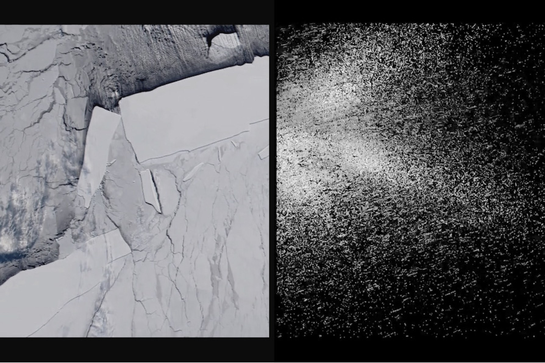 Left: A MODIS spectral image of the B15 iceberg family, NASA Visible Earth. Right: Sound-image mapping of the calving event using radar, by the artist.